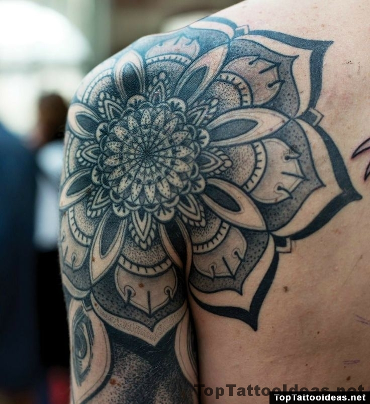 Black Mandala Shoulder And Sleeve Tattoo