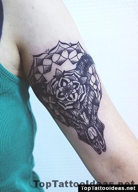 Bull Skull Arm Tattoo