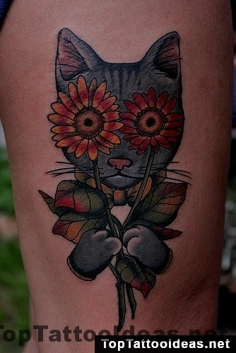 Cat With Sunflowers Done By Santu Altamirano