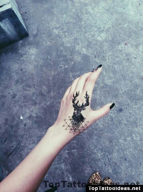 Deer Tattoo On Hand
