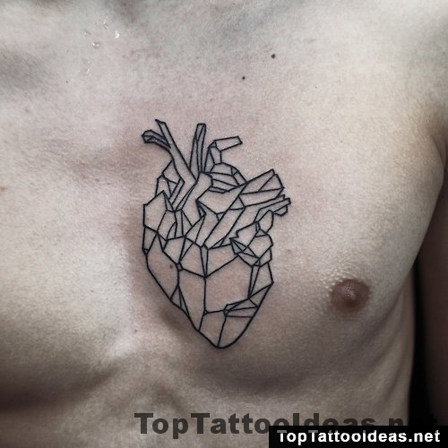 Geometric Heart Tattoo On Chest