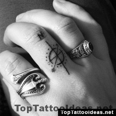 Minimal Compass Finger Tattoo