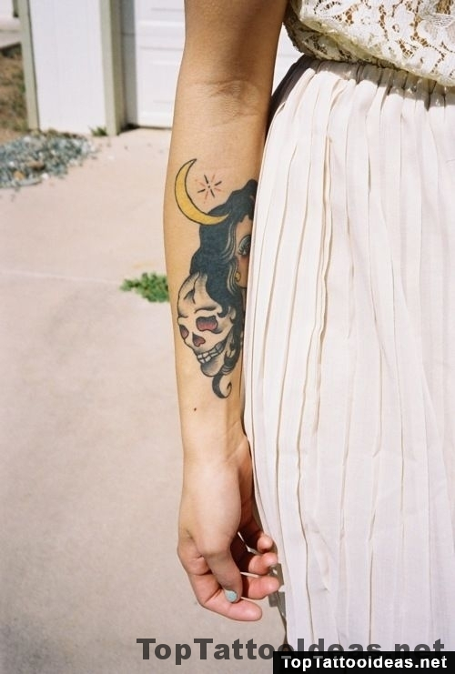 Skull And Moon Tattoo