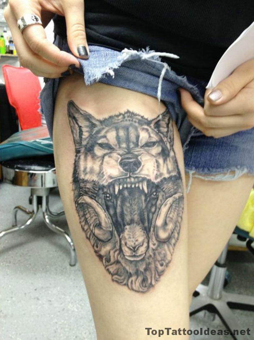 Angry Wolf Leg Tat Tattoo Idea