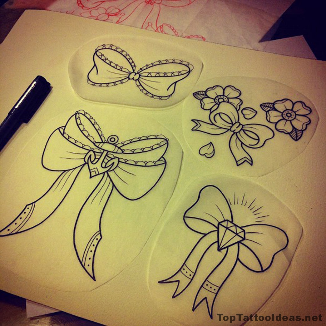 Bows Sketches Tattoo Idea