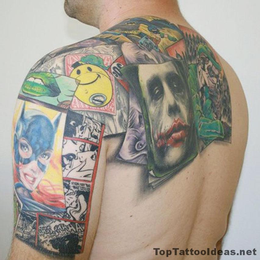 Comic Back Tat Tattoo Idea