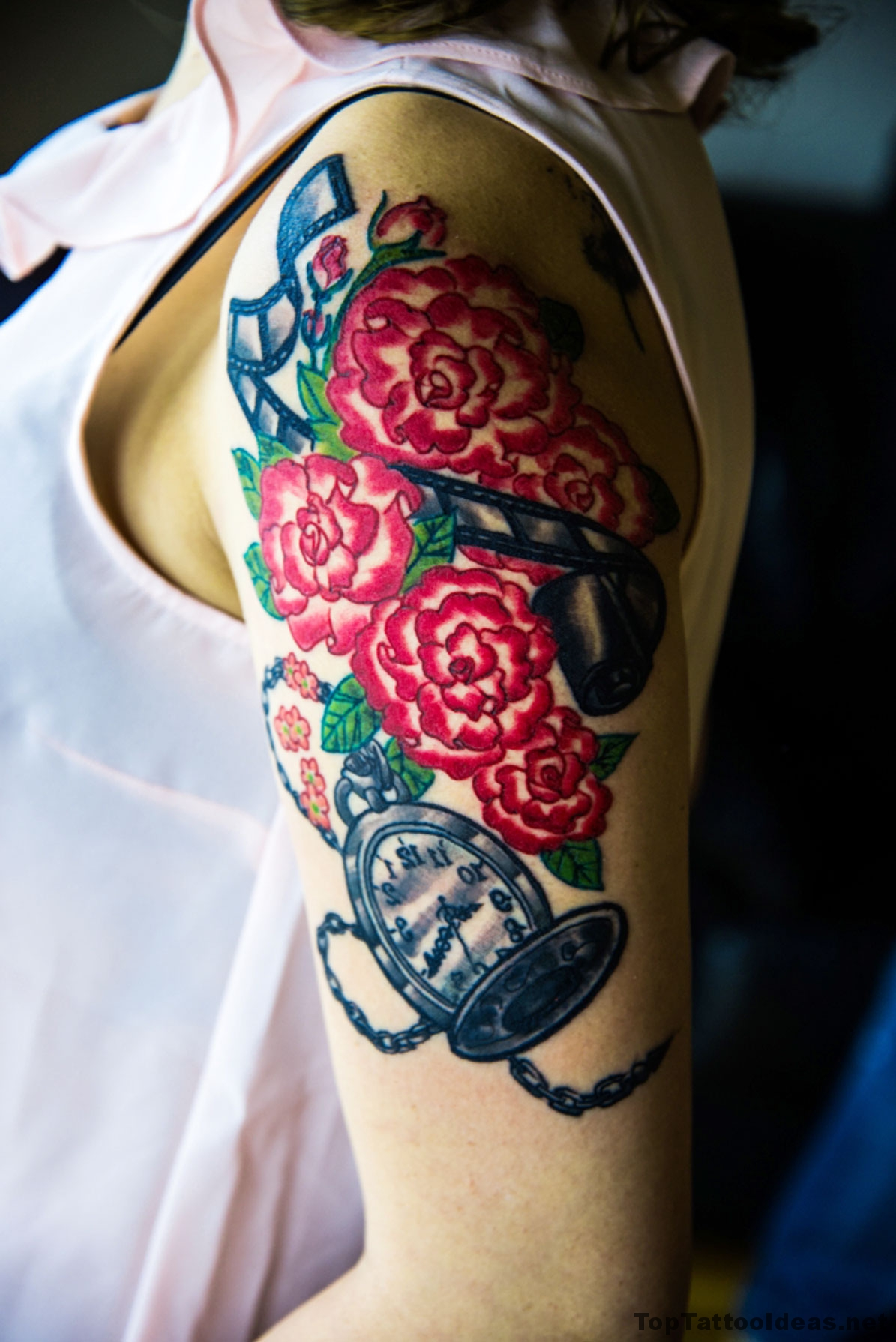 Flowers And Clock Sleeve Tattoo Idea