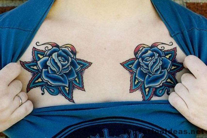 Flowers On Chest Tattoo Idea