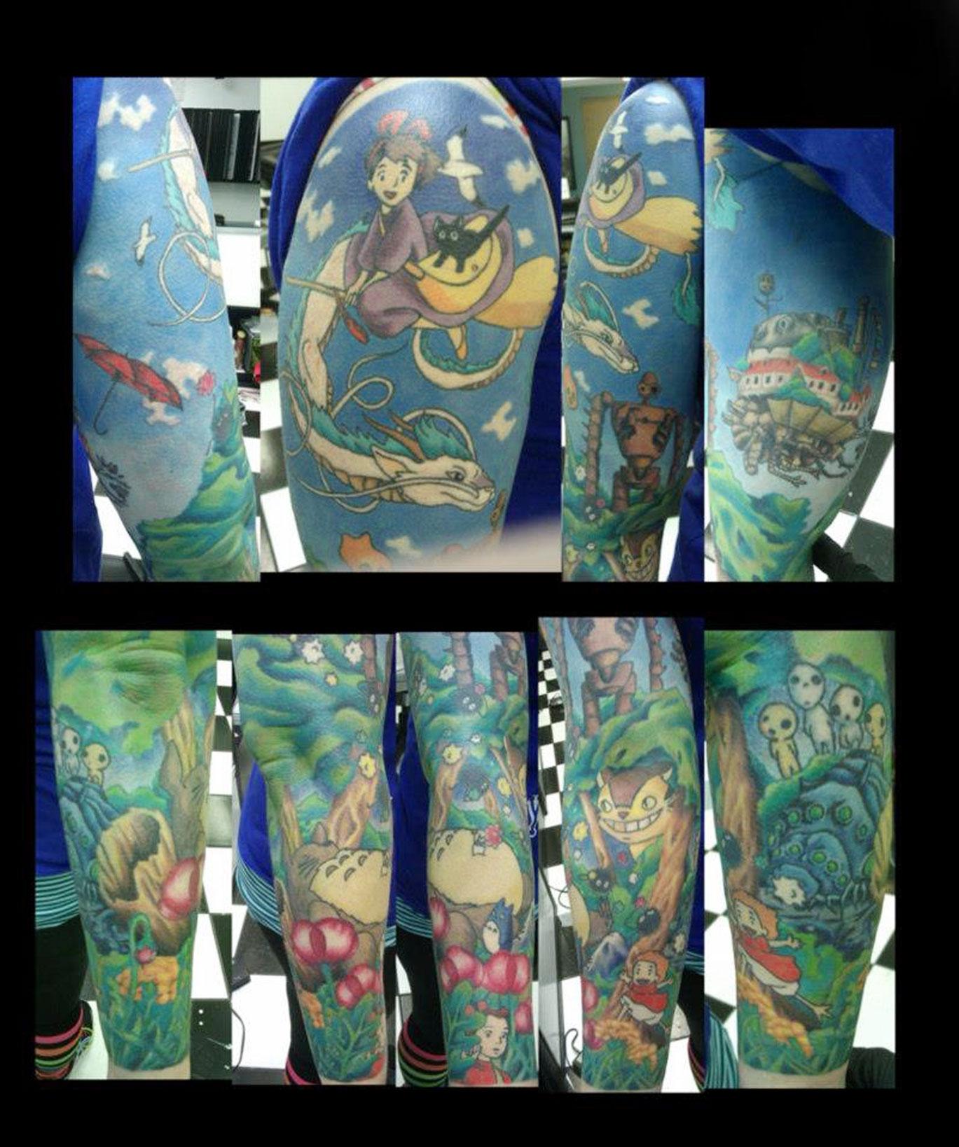 Full Anime Sleeve Tattoo Idea
