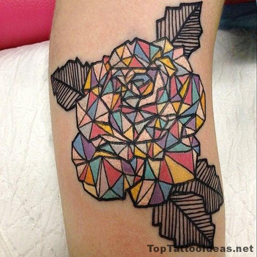 Kaleidoscope Rose Tattoo Idea