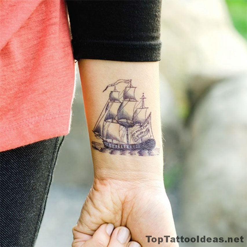 Wrist Ship Tattoo Idea