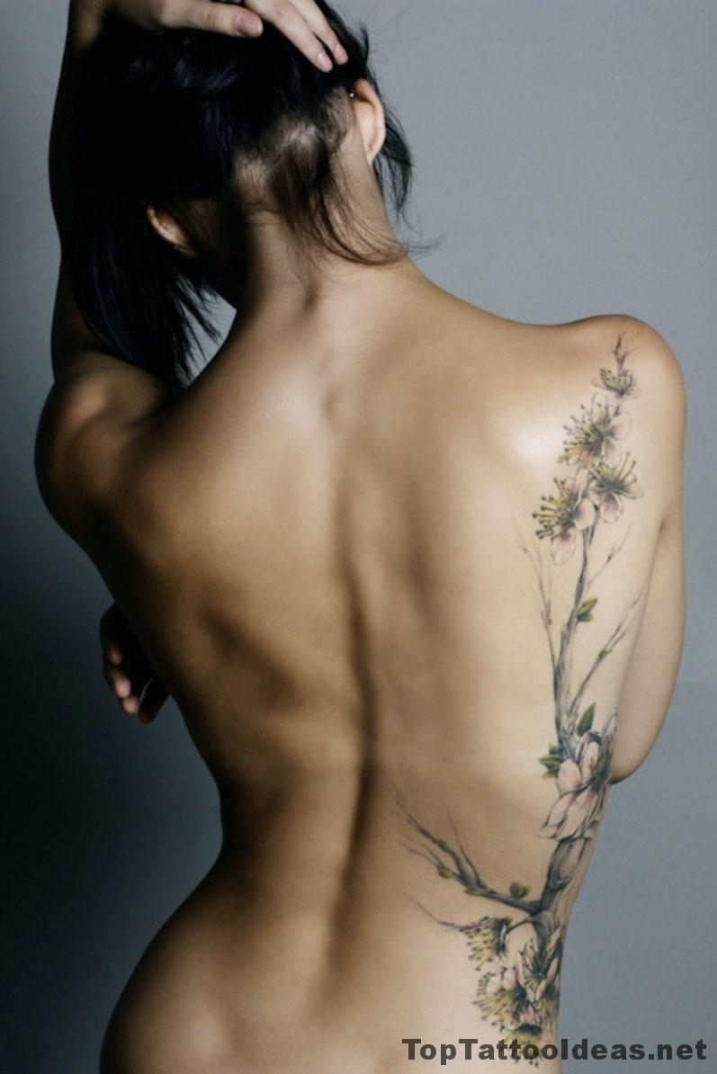 Amazing Back Floral Tat Tattoo Idea