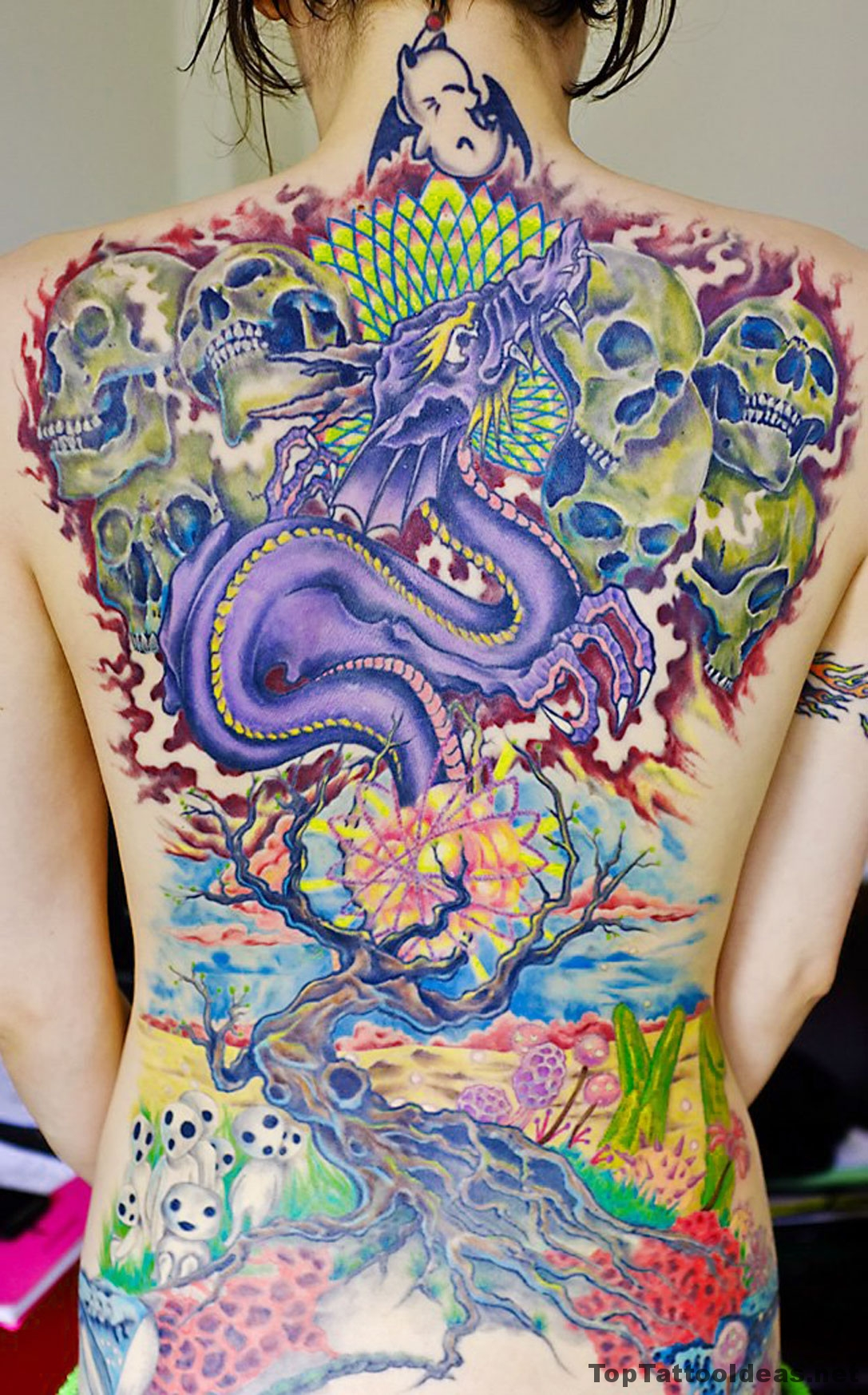 Amazingly Colourful Back Tattoo Idea