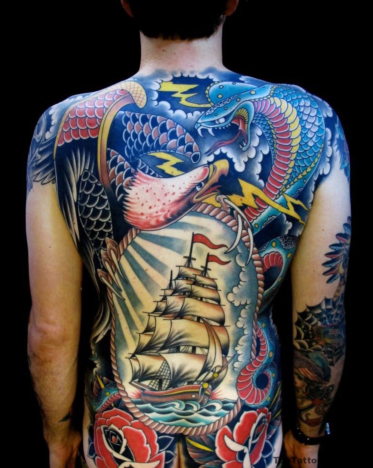 Awesome Fully Inked Back Tattoo Idea