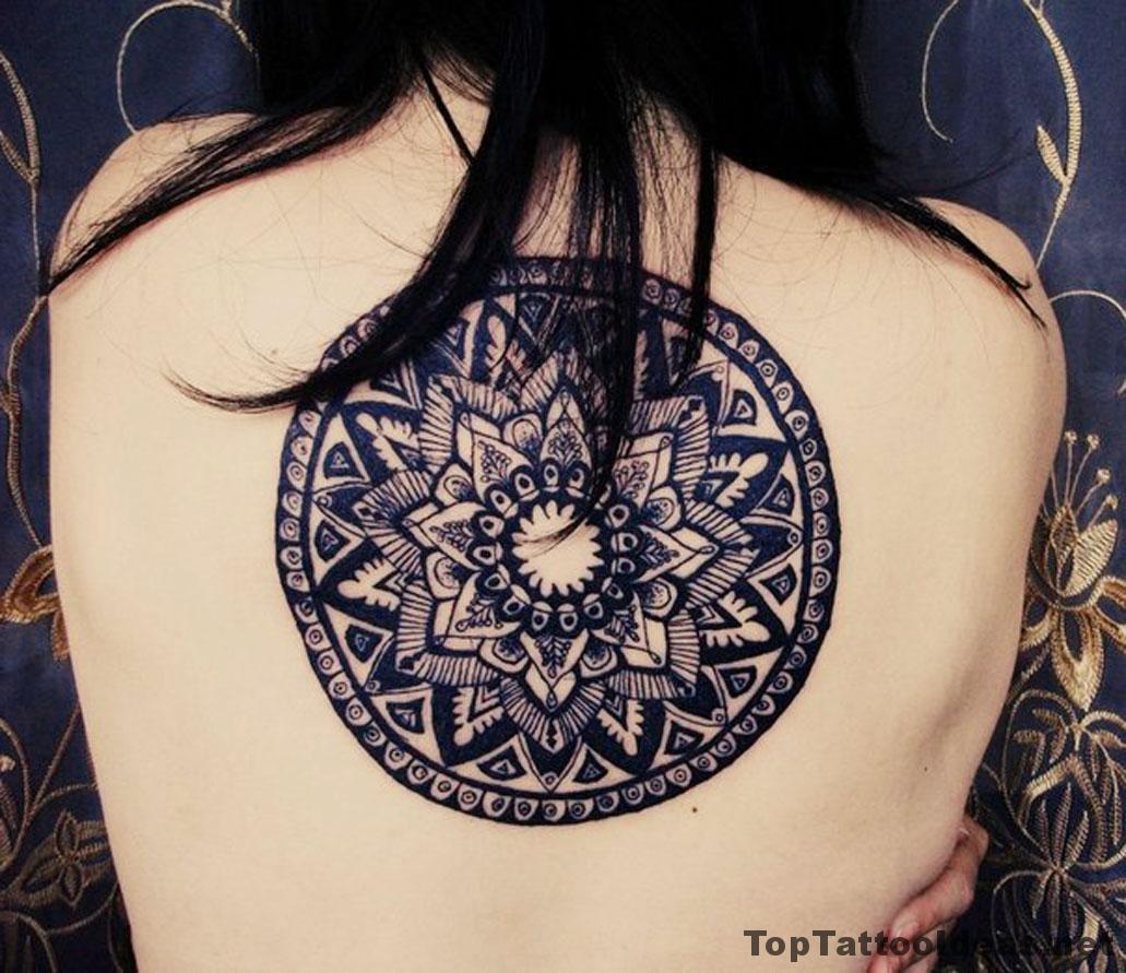 Big Black Mandala Back Tattoo Idea