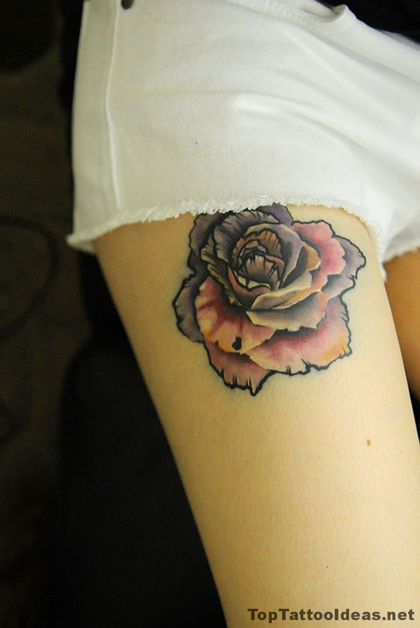 Colorful Rose Leg Tat Tattoo Idea
