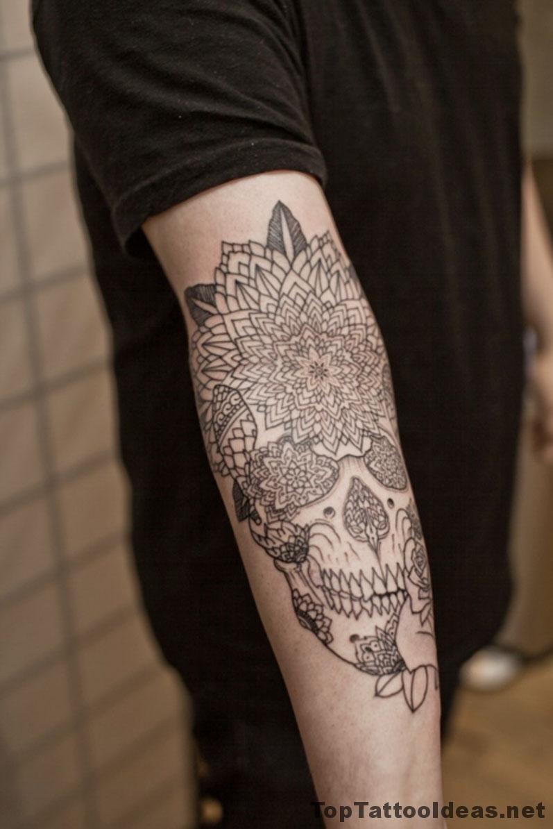 Flowers Skull Tattoo Idea