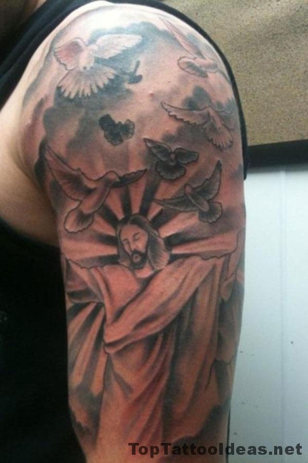 Nice Half Sleeve Cross Tattoos For Men