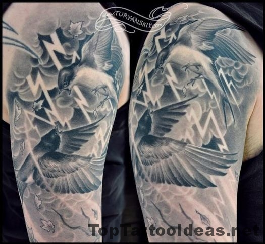 Nice Swallow Tattoo Designs For Men