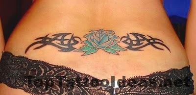 Tribal Flower Back Tattoos For Women