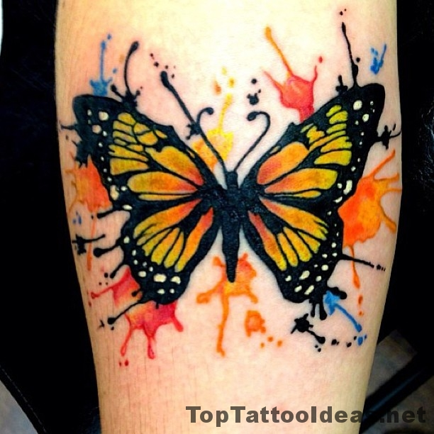 Wonderful Beautiful Watercolor Butterfly Tattoo