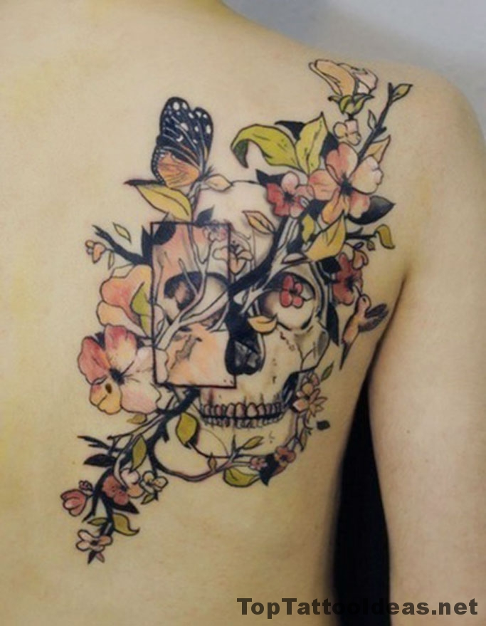 Abstract Floral Skull Tattoo Idea