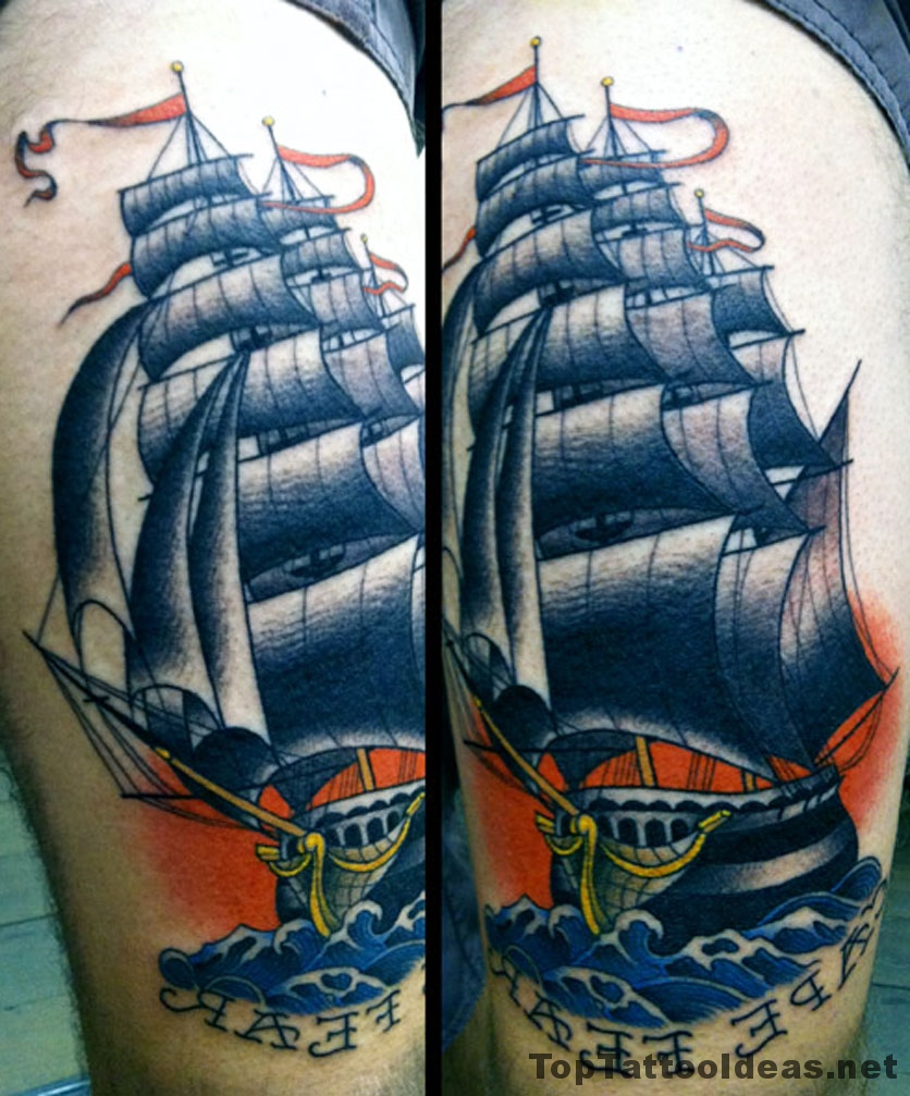 Amazing Ship Tattoo Idea