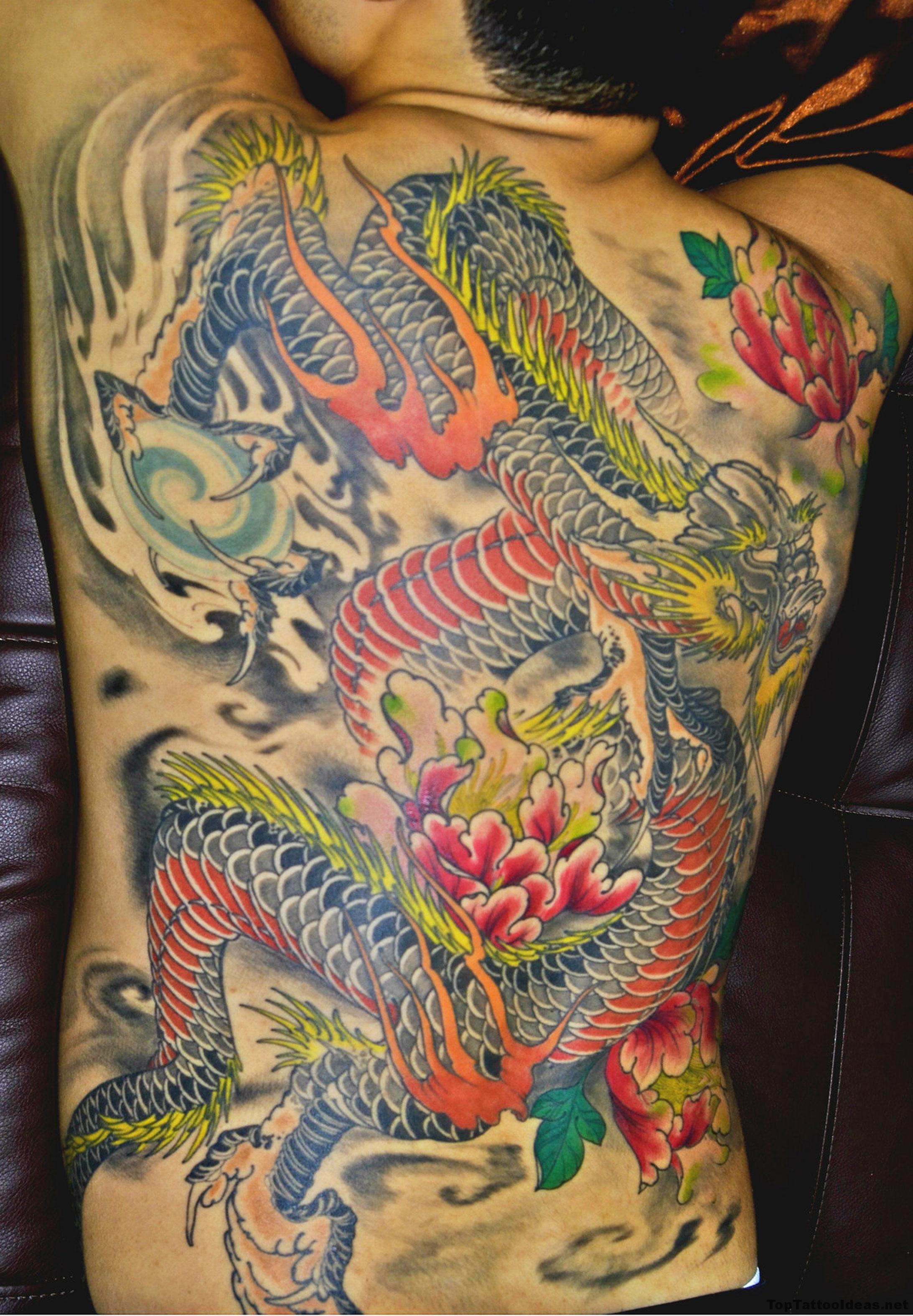 Awesome Dragon Back Tattoo Idea
