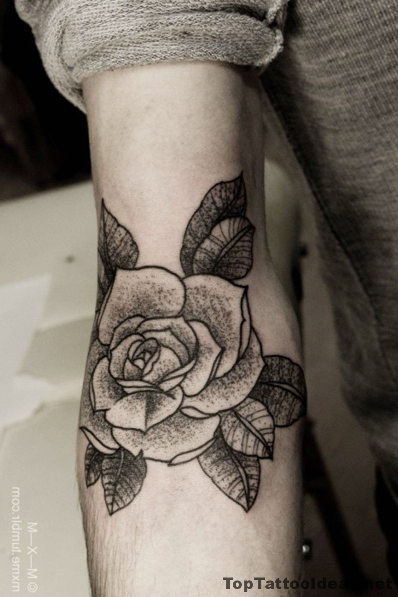 Beautiful Black Rose Tattoo On Arm Idea
