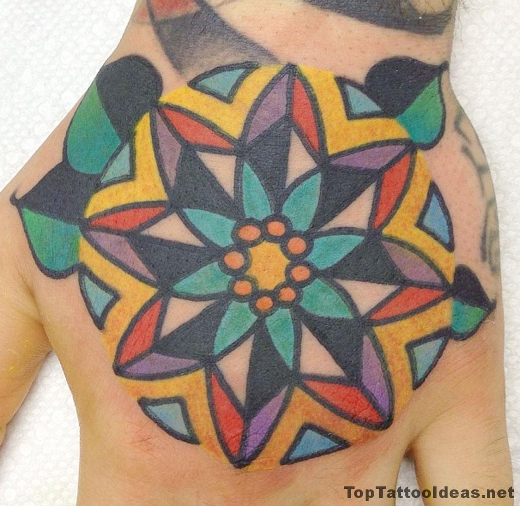 Colourful Mandala Hand Tat Tattoo Idea