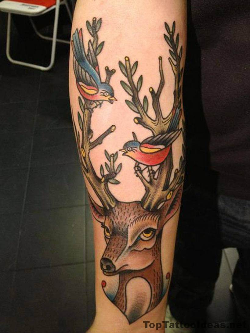 Deer And Birdies Tattoo Idea