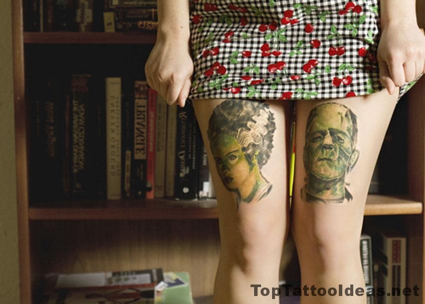 Faces On Legs Tattoo Idea