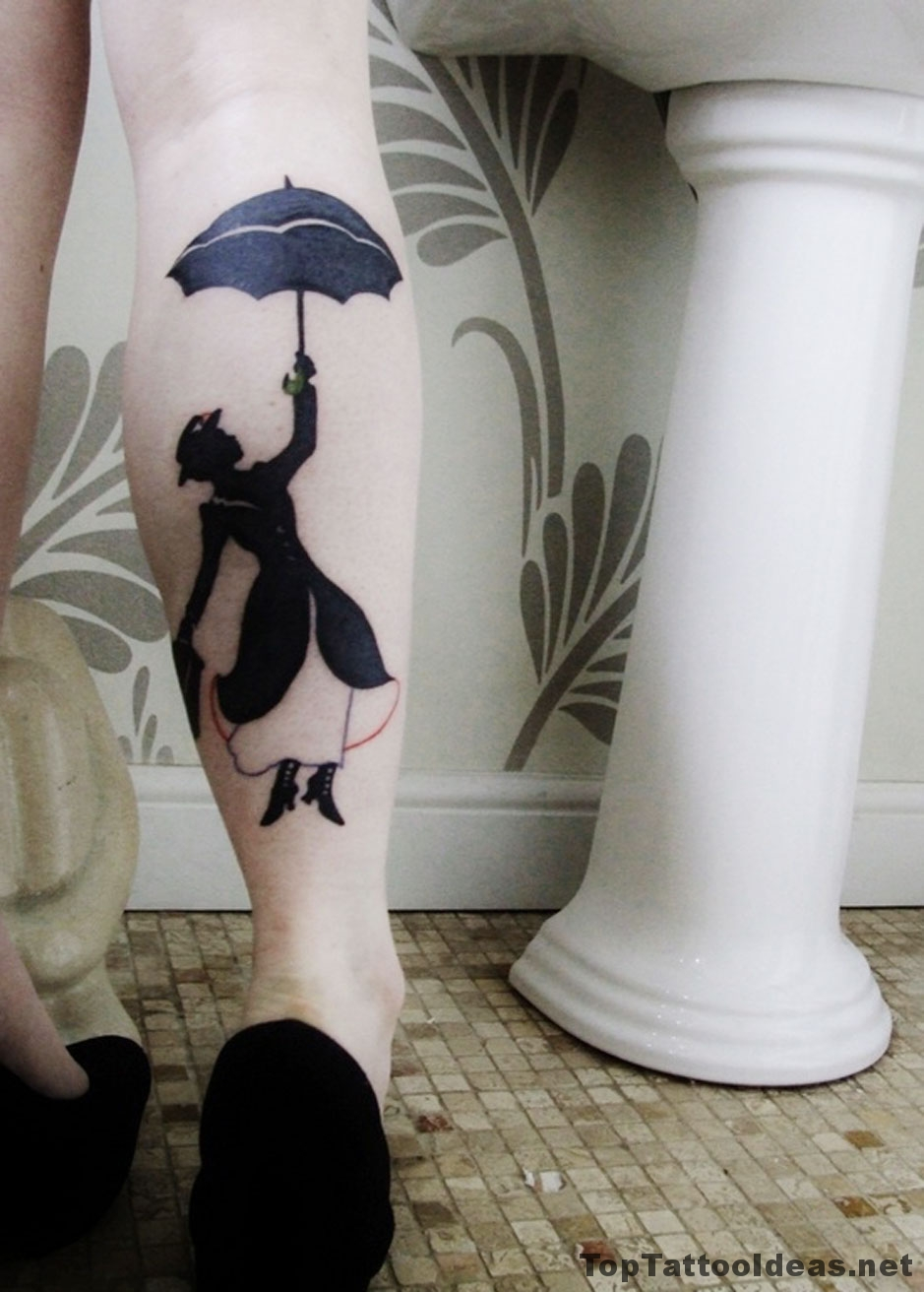 Mary Poppins Leg Tattoo Idea