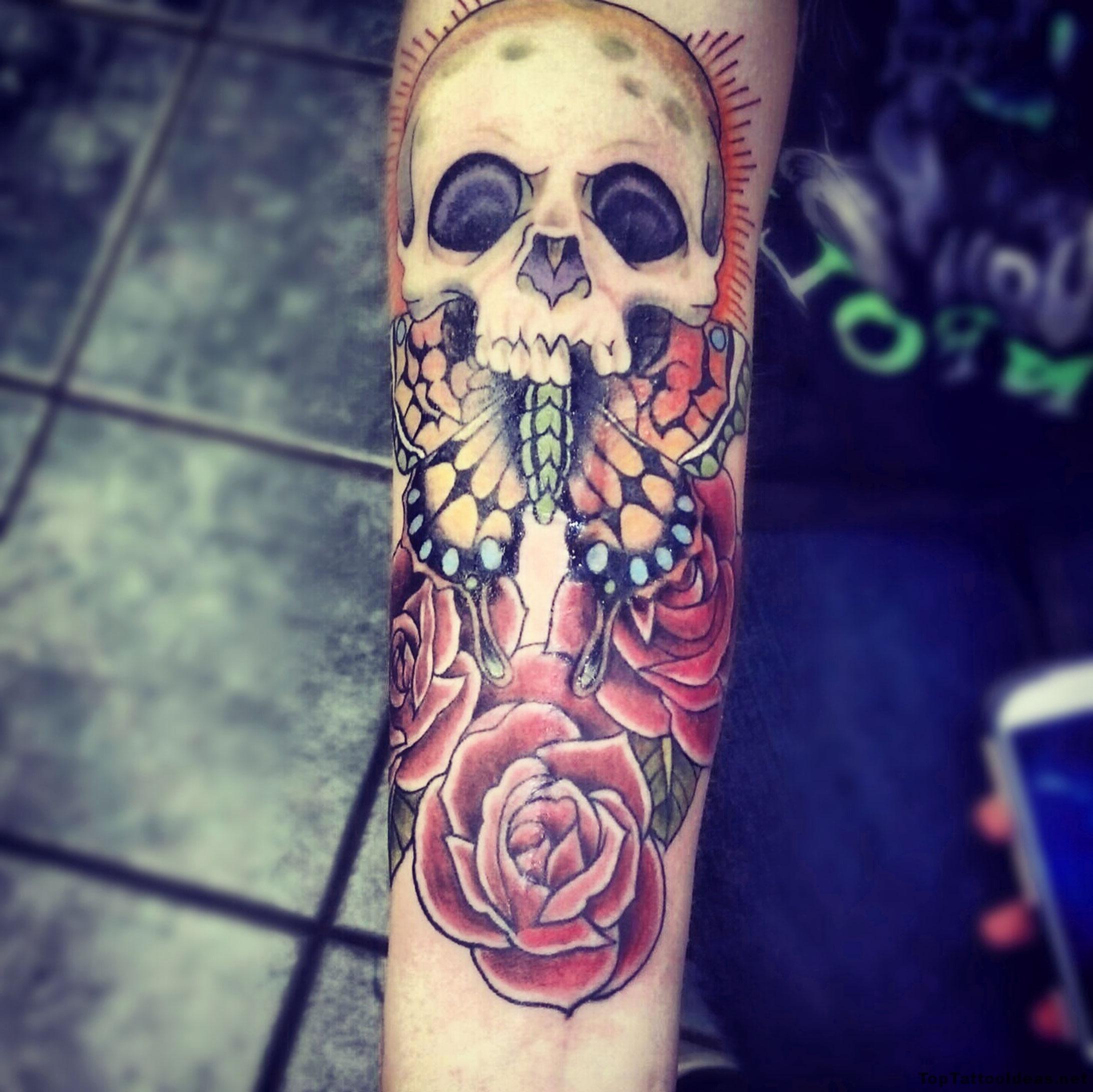 Nice Skull Arm Tat Tattoo Idea