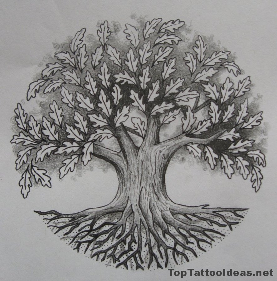 Oak Tree Back Tattoos