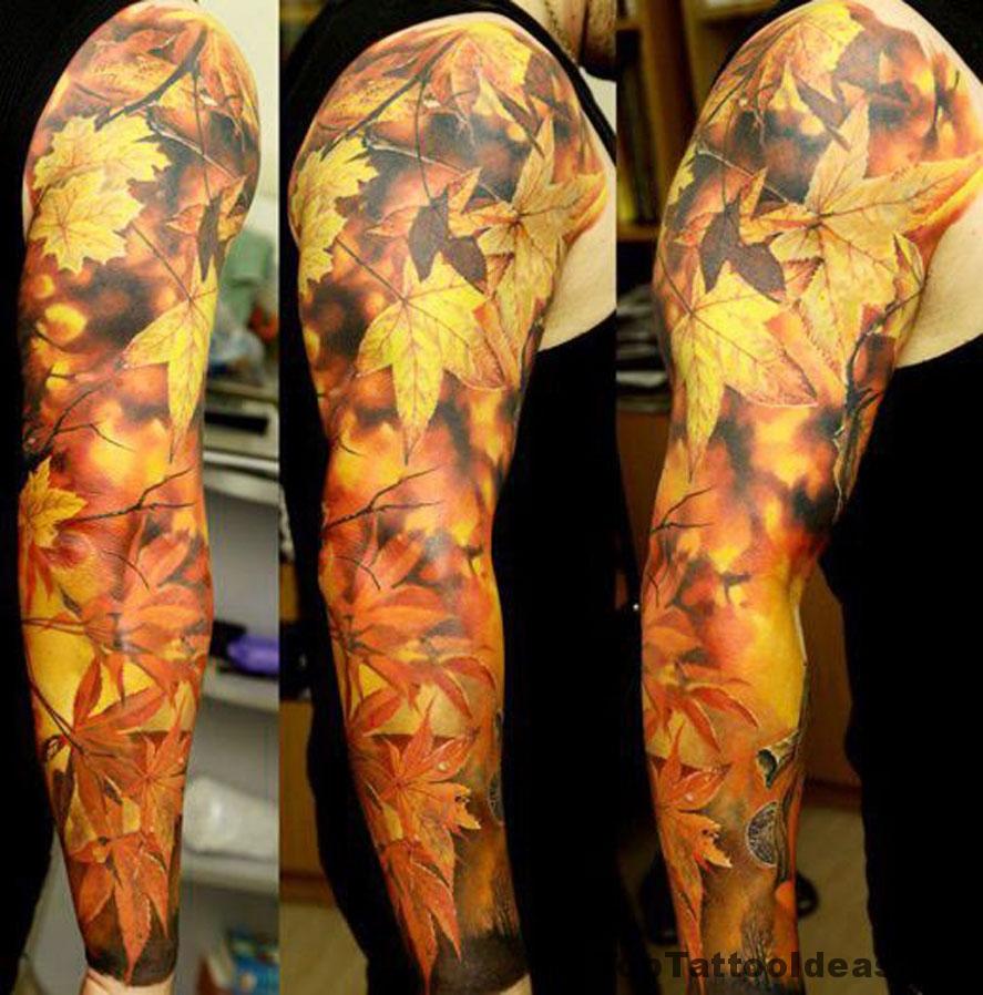 Autumn Leaves Sleeve Tattoo Idea