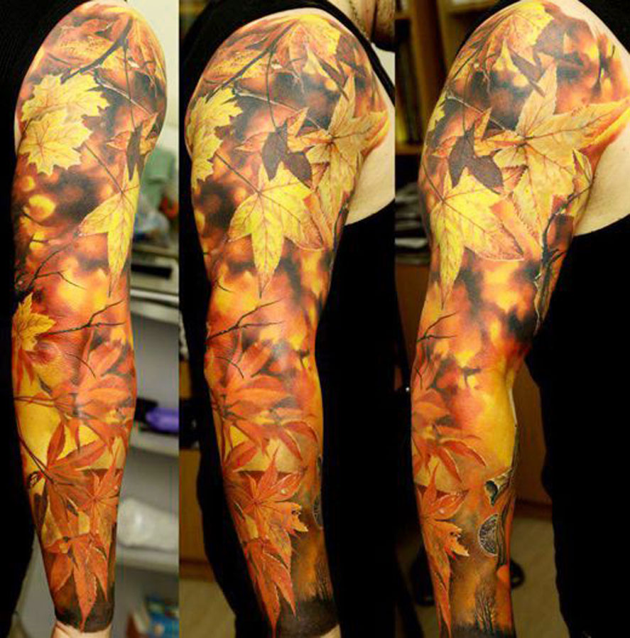 Autumn Leaves Sleeve Tattoo Idea