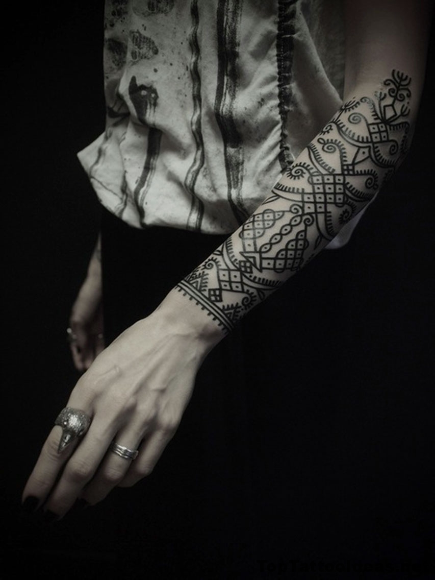 Black And White Arm Tattoo Idea