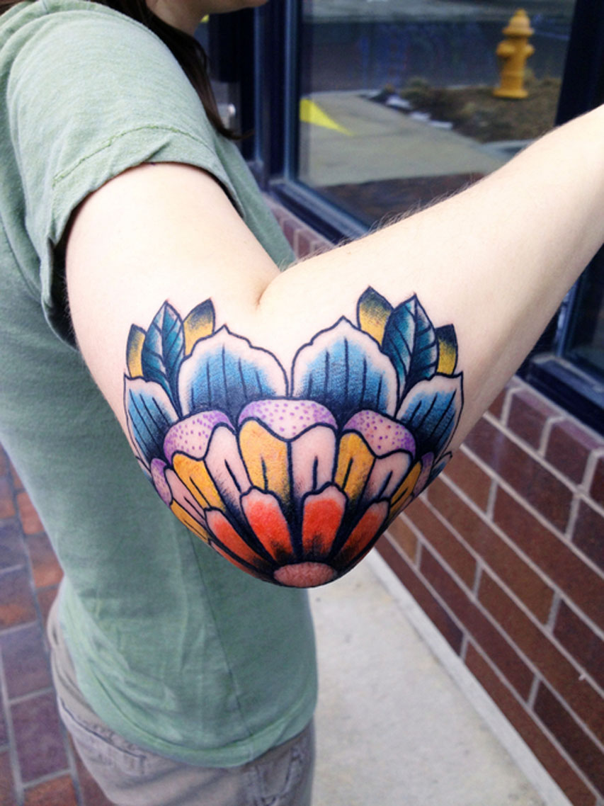 Elbow Flower Tattoo Idea