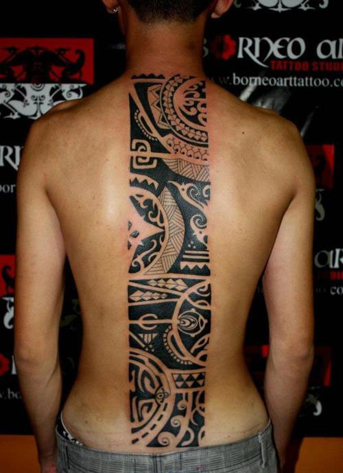Hawaiian Tribal Back Tattoos For Women