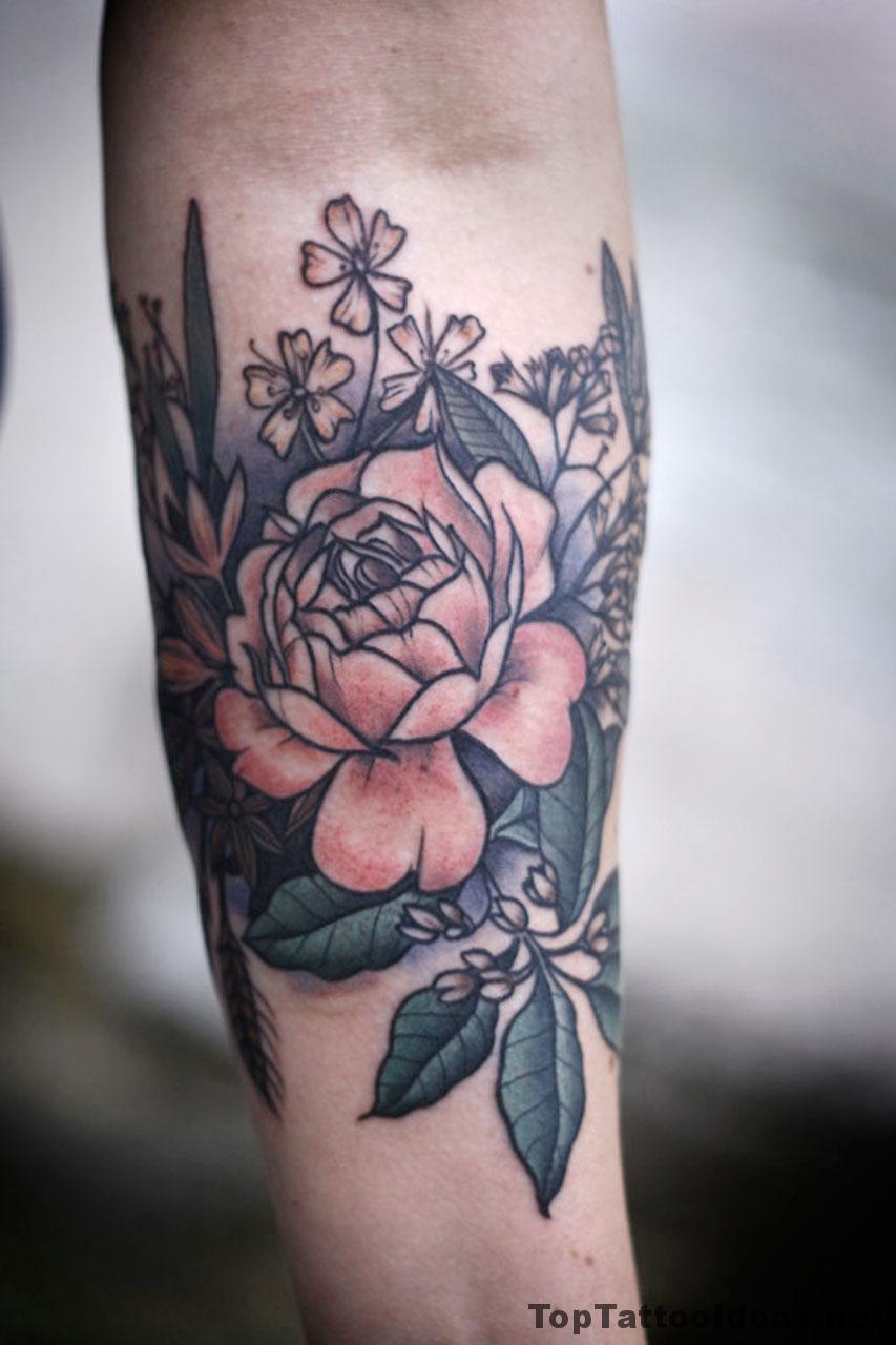 Nice Flower Tat On Arm Tattoo Idea